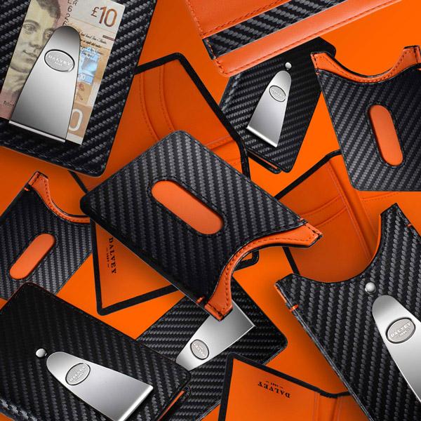 'CMC' Money Clip Wallets Black Carbon Fibre Orange